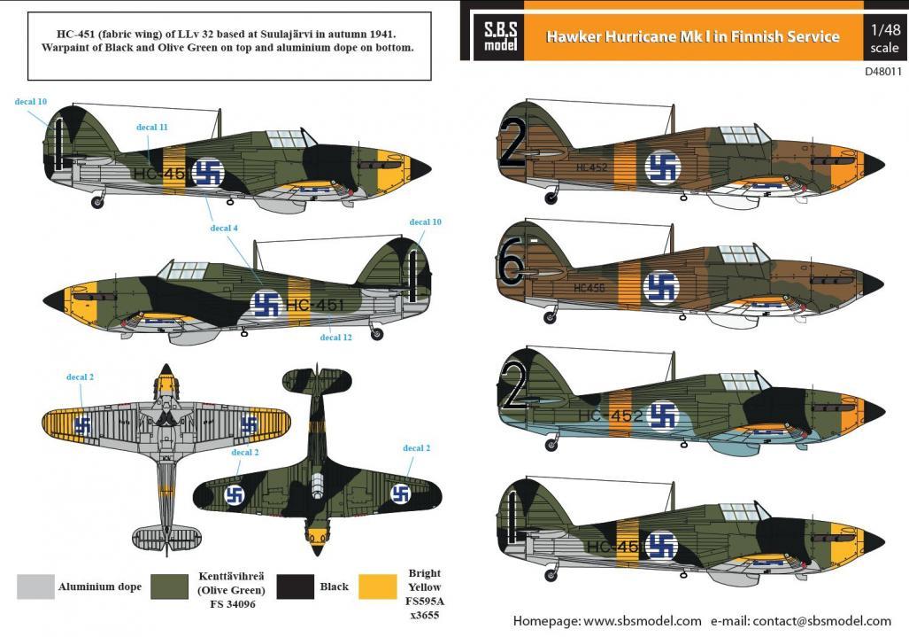 1:48 Hawker Hurricane Mk D48011 I in Finnish Service WW II S.B.S Models