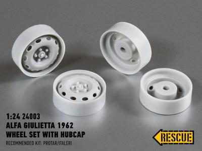 Alfa Giulietta 1962 wheel with hubcap for Protar/Italeri kit